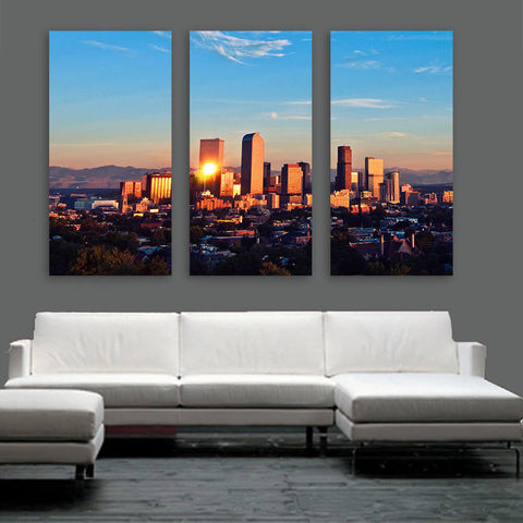 Denver Mountain Skyline Wall Art Multi Panel Canvas Wall Art