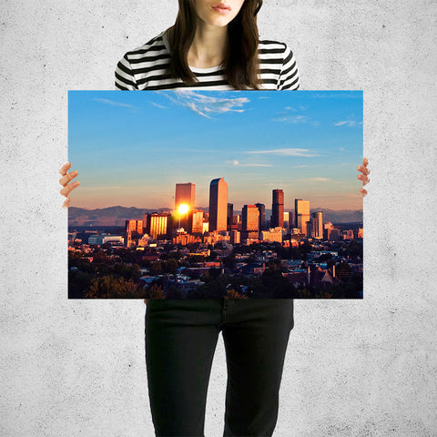 Denver Mountain Skyline Wall Art High Quality Print Wall Art
