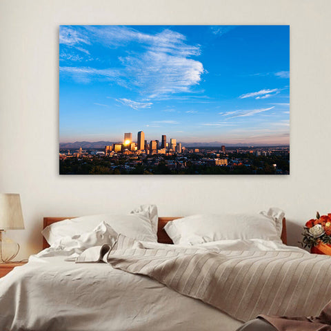 Denver Aerial Skyline Wall Art Canvas Art