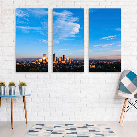 Denver Aerial Skyline Wall Art Multi Panel Canvas Wall Art