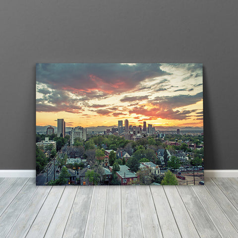 Denver Sunset Skyline Wall Art Canvas Art