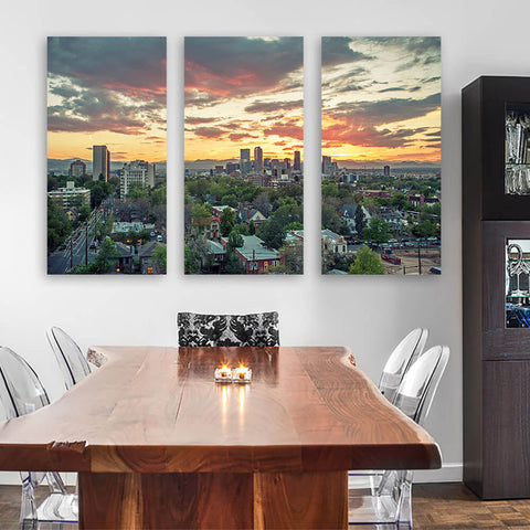 Denver Sunset Skyline Wall Art Multi Panel Canvas Wall Art