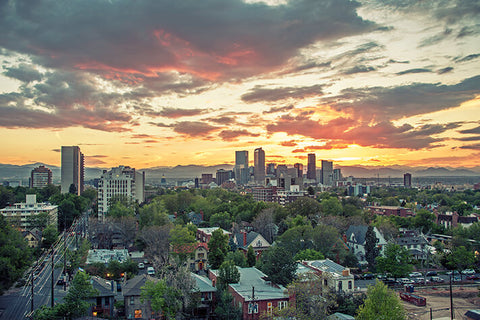 Denver Sunset Skyline Wall Art High Quality Print Wall Art