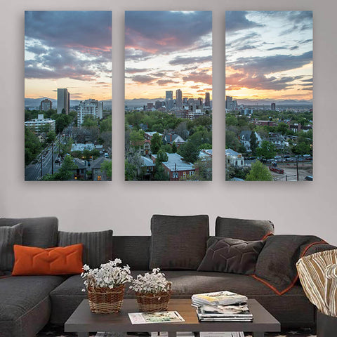 Denver Cloudy Skyline Wall Art Multi Panel Canvas Wall Art