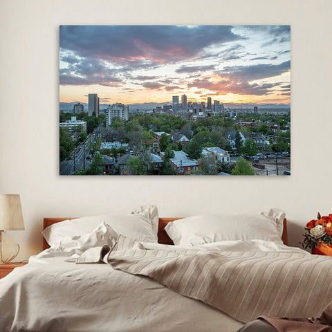 Denver Cloudy Skyline Wall Art Canvas Art