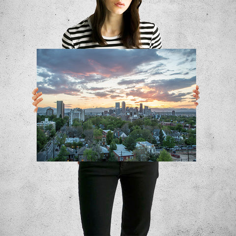 Denver Cloudy Skyline Wall Art High Quality Print Wall Art