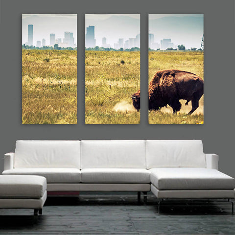 Denver Buffalo Grazing Skyline Wall Art Multi Panel Canvas Wall Art