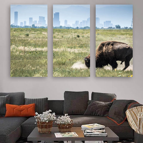 Denver Colorado Buffalo Skyline Wall Art Multi Panel Canvas Wall Art