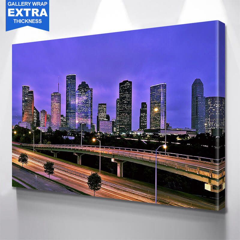 Houston Bright Glow Skyline Wall Art Canvas Art