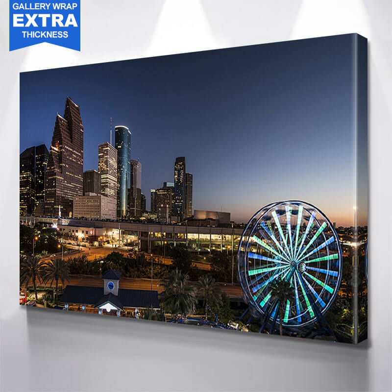 Houston Ferris Wheel Skyline Wall Art Canvas Art