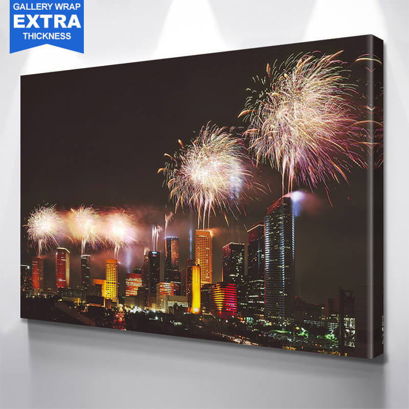 Houston Majestic Fireworks Skyline Wall Art Canvas Art