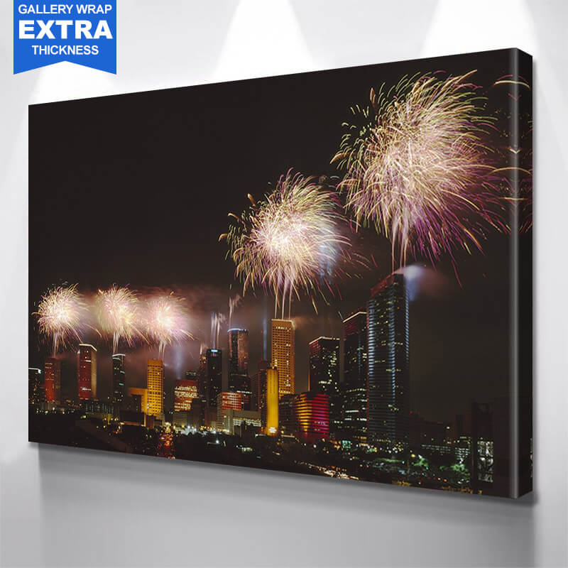 Houston Fireworks Skyline Wall Art Canvas Art