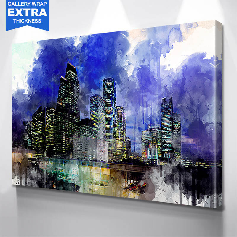 Houston Watercolor Downtown Wall Art Canvas Art