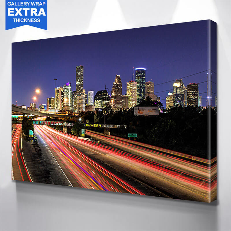 Houston Skyline Traffic Wall Art Canvas Art