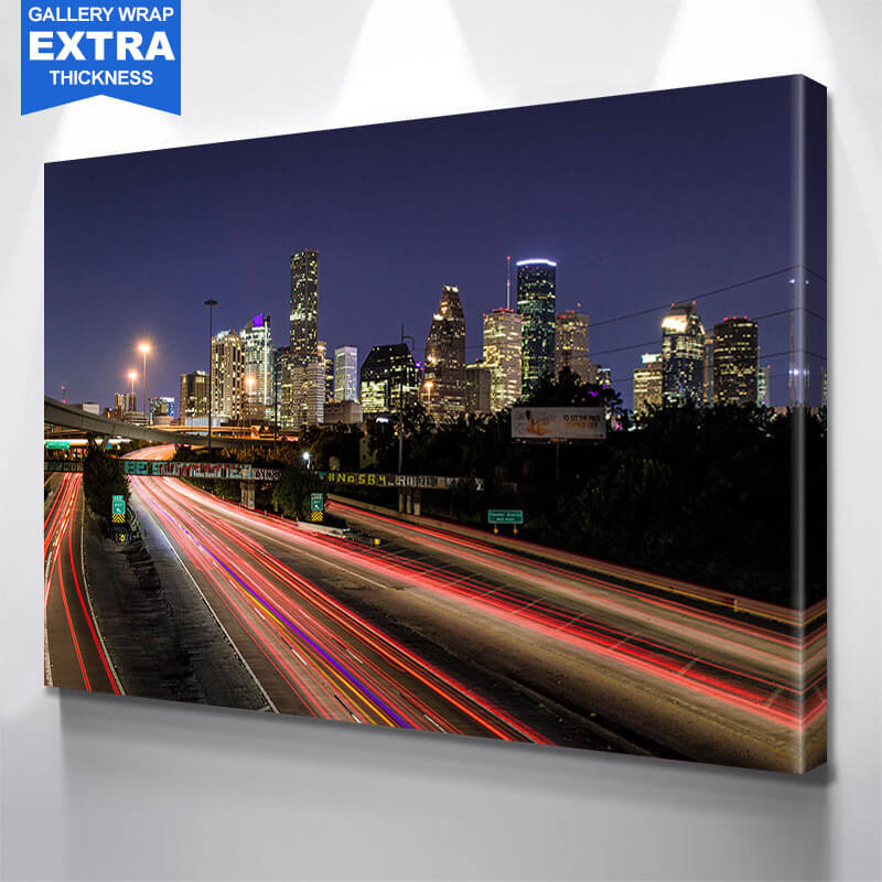 Houston Highway Skyline Wall Art Canvas Art