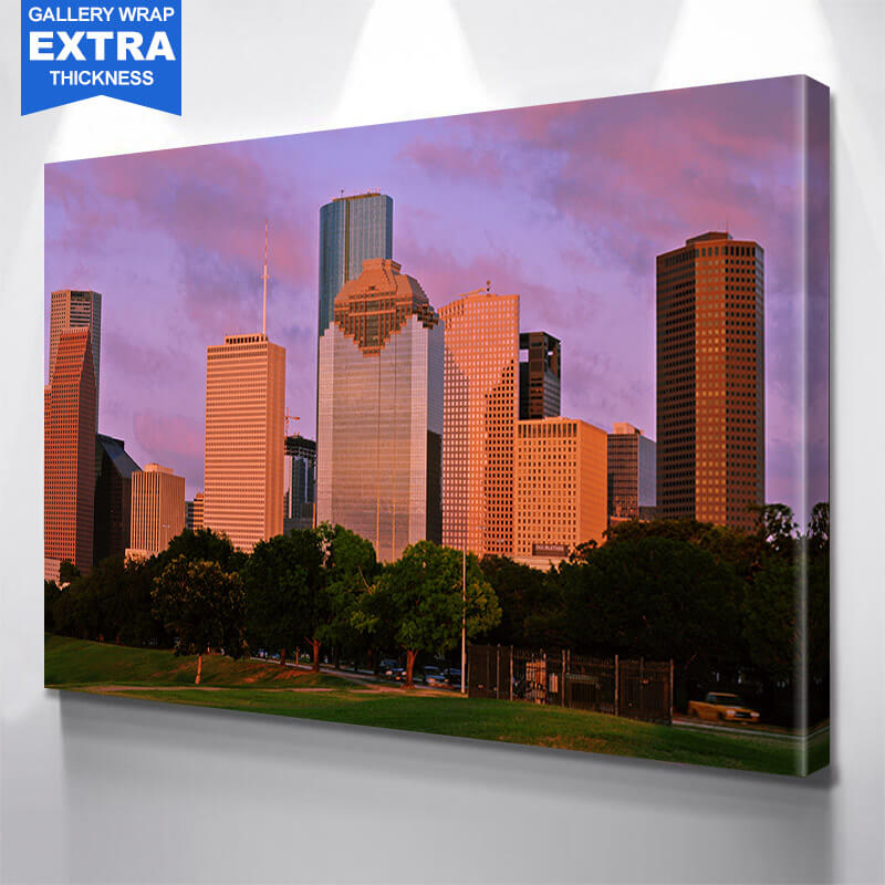 Houston Dusk Skyline Wall Art Canvas Art