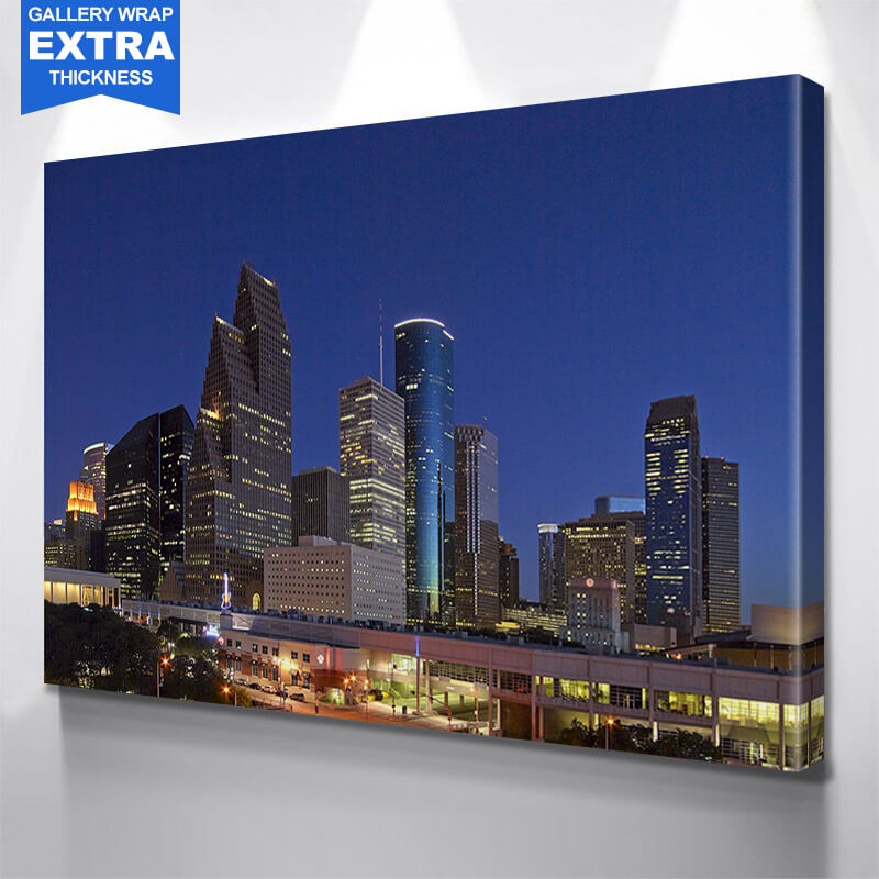 Houston Night Blue Skyline Wall Art Canvas Art