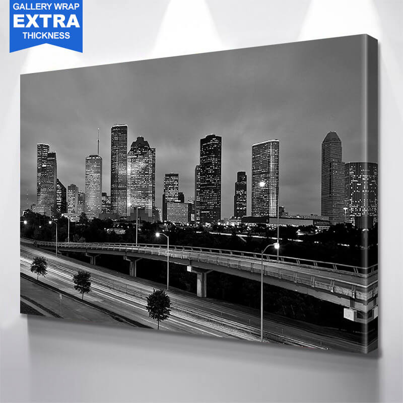 Houston Black & White Amazing Cloud Skyline Wall Art Canvas Art