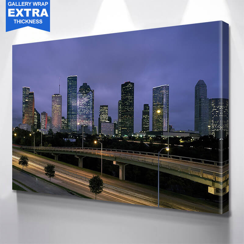 Houston Bridge Downtown Wall Art Canvas Art