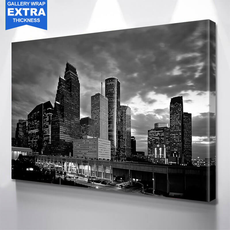 Houston Black & White Amazing Skyline Wall Art Canvas Art