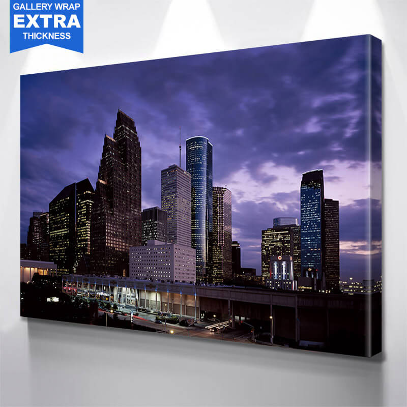Houston Amaizing Night Skyline Wall Art Canvas Art