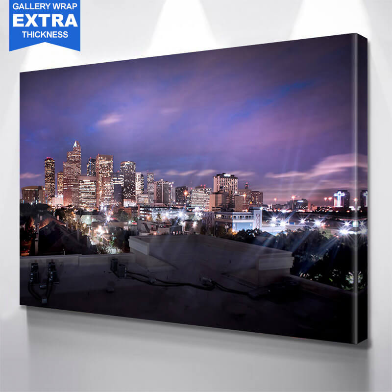 Houston Night Skyline Wall Art Canvas Art