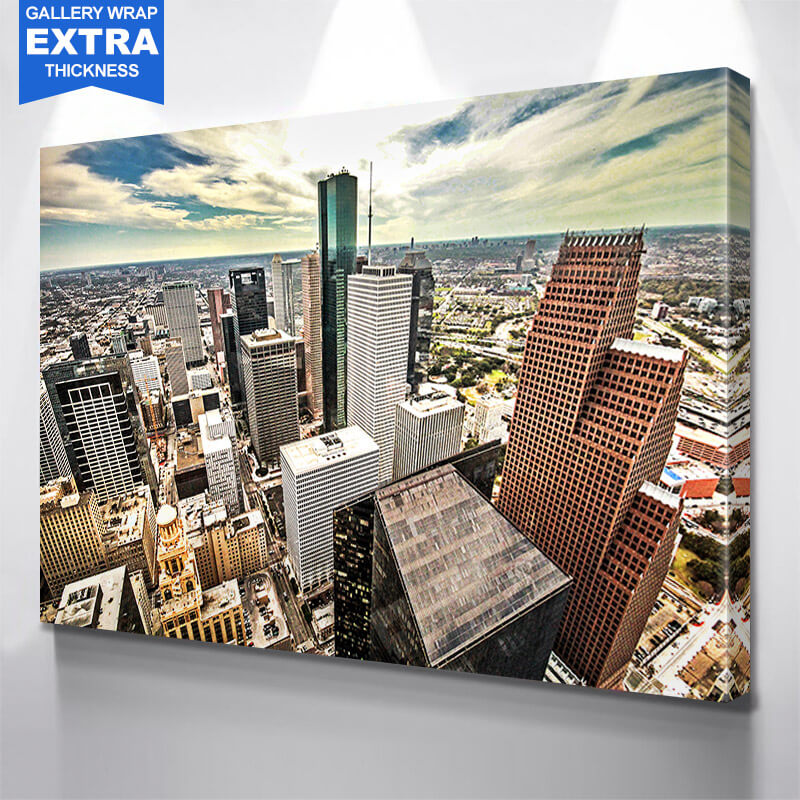 Houston From Above Skyline Wall Art Canvas Art