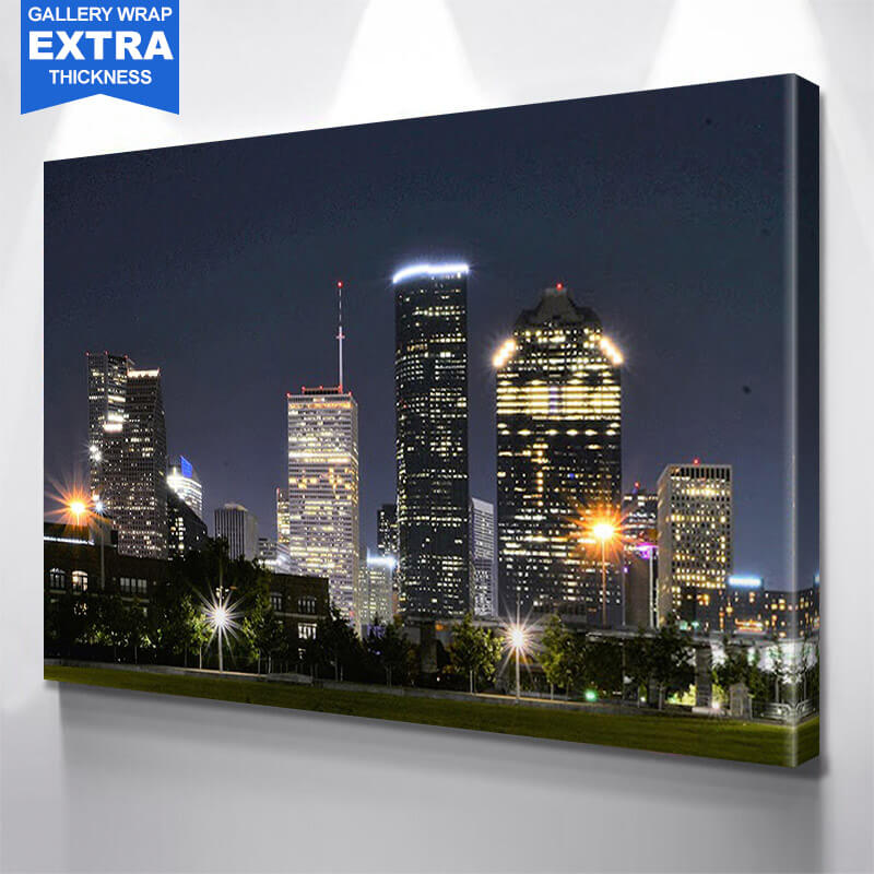 Houston Skyline at Night Wall Art Canvas Art