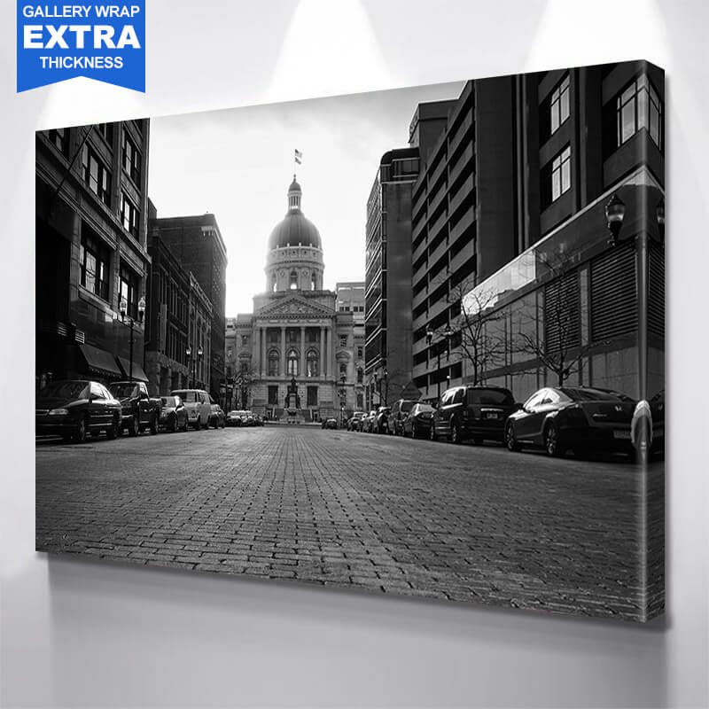Indianapolis Black & White Capital Building Wall Art Canvas Art