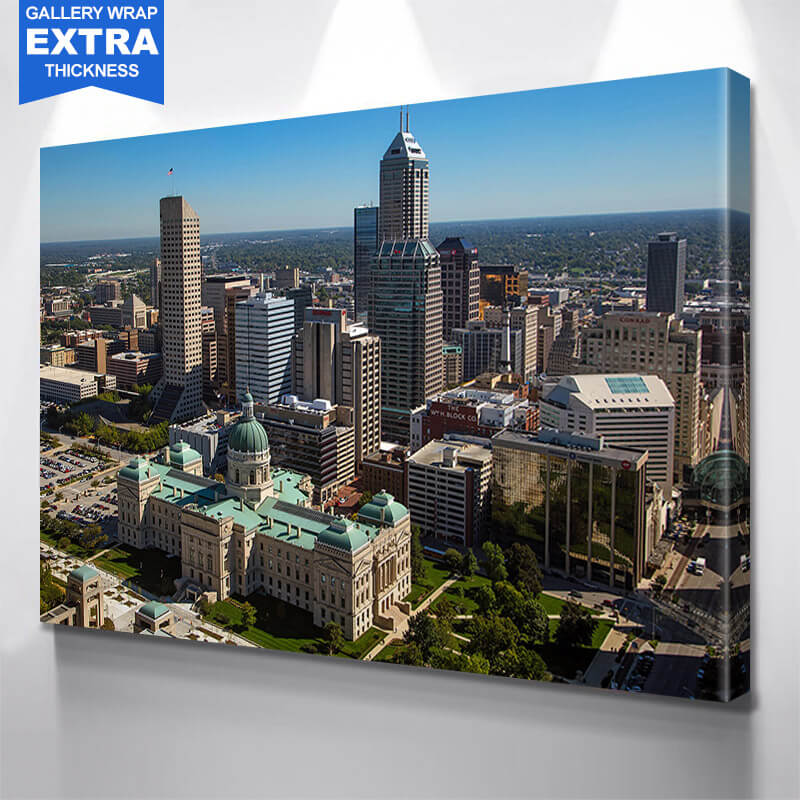 Indianapolis Aerial Downtown Wall Art Canvas Art