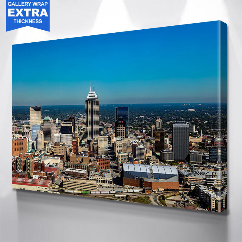 Aerial Indianapolis Skyline Wall Art Canvas Art