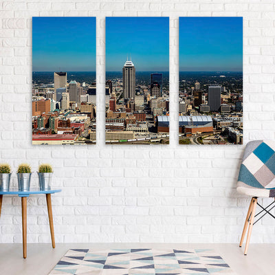 Aerial Indianapolis Skyline Canvas Wall Art Canvas Art