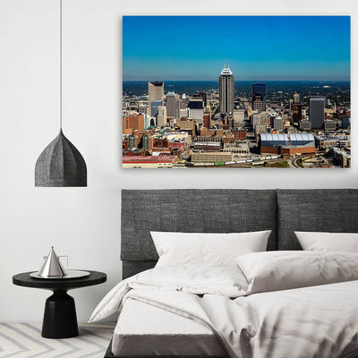 Aerial Indianapolis Skyline Canvas Wall Art Multi Panel Canvas Wall Art