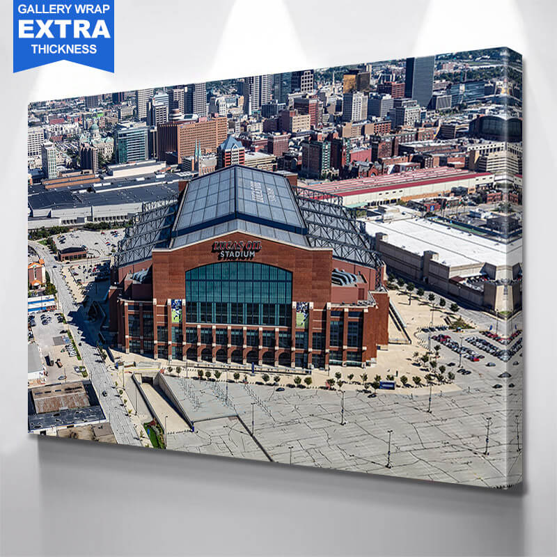 Indianapolis Lucas Oil Stadium Downtown Wall Art Canvas Art