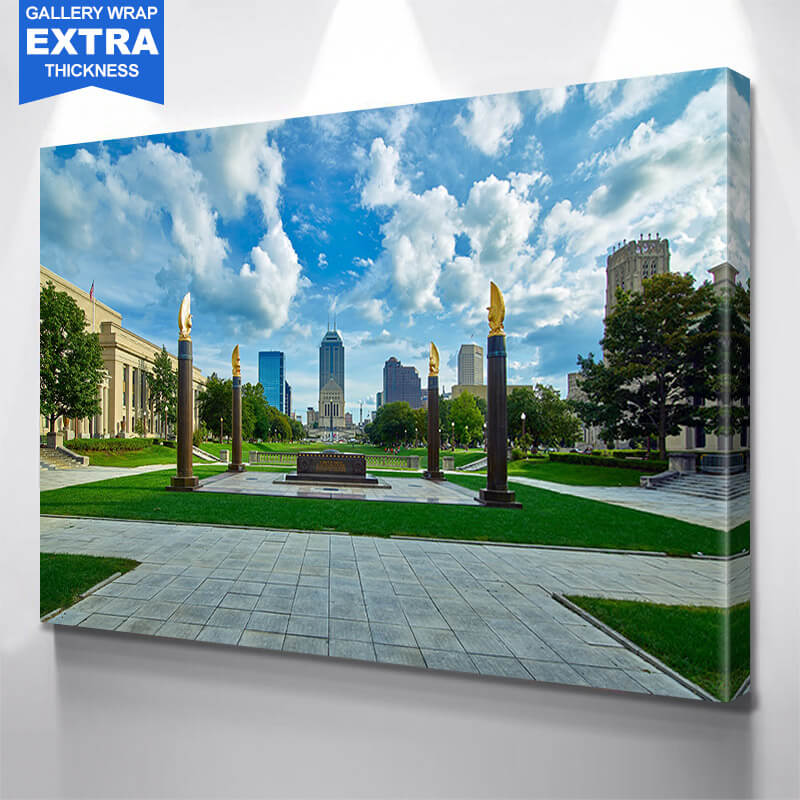 Indianapolis Cloudy Skyline Wall Art Canvas Art