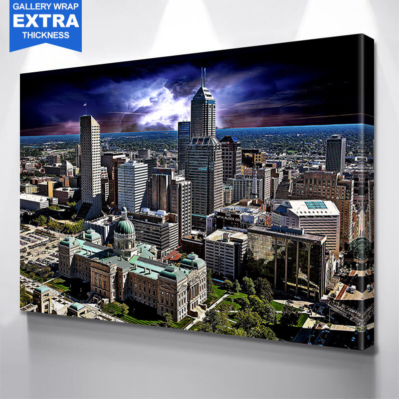 Indianapolis Stormy Skyline Wall Art Canvas Art