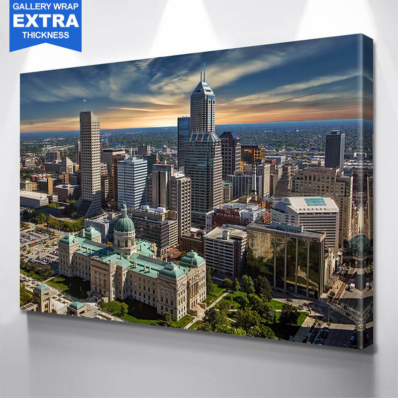 Indianapolis Sunny Skyline Wall Art Canvas Art