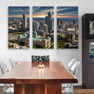 Indianapolis Sunny Skyline Canvas Wall Art Multi Panel Canvas Wall Art
