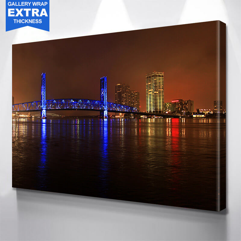 Main Street Bridge Blue Jacksonville Wall Art Canvas Art