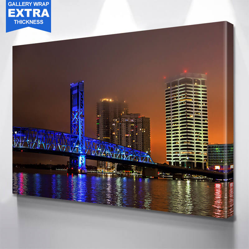 Jacksonville Illuminated Night Main Street Bridge Wall Art Canvas Art