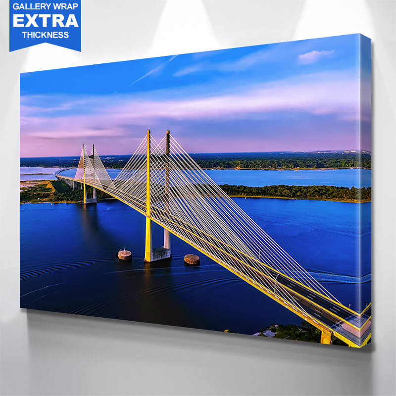 Dames Point Bridge Dusk  Wall Art Canvas Art