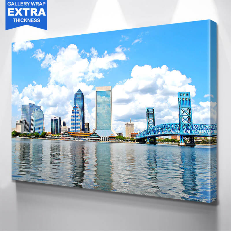 Cloudy Jacksonville Skyline Wall Art Canvas Art