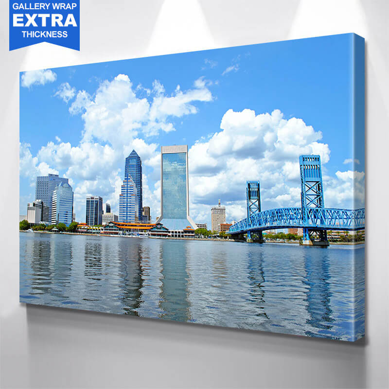 Jacksonville Blue Heaven  Skyline Wall Art Canvas Art