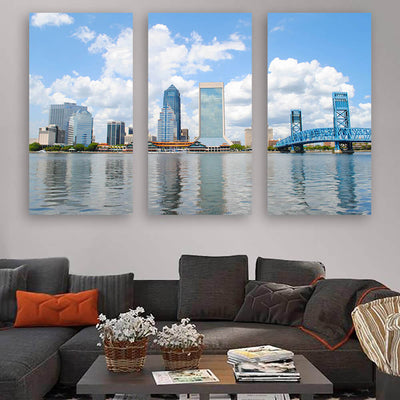 St. John River Jacksonville Skyline Wall Art Multi Panel Canvas Wall Art