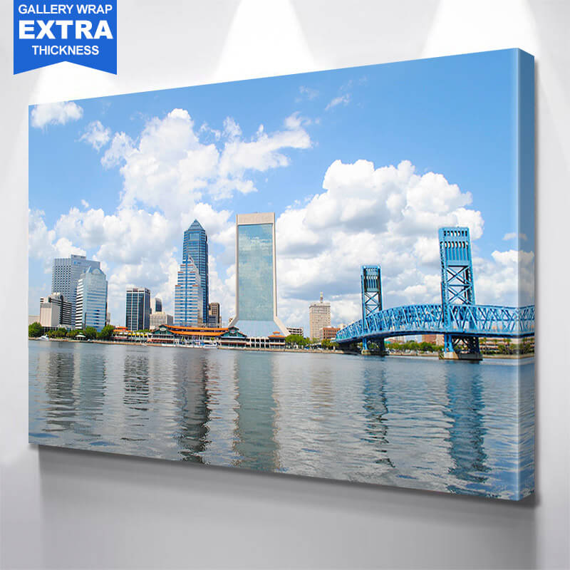 St. John River Jacksonville Skyline Wall Art Canvas Art