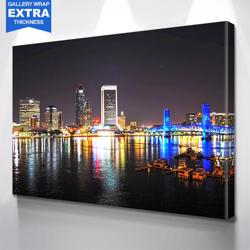 Night Time St. John River Jacksonville Skyline Wall Art Canvas Art