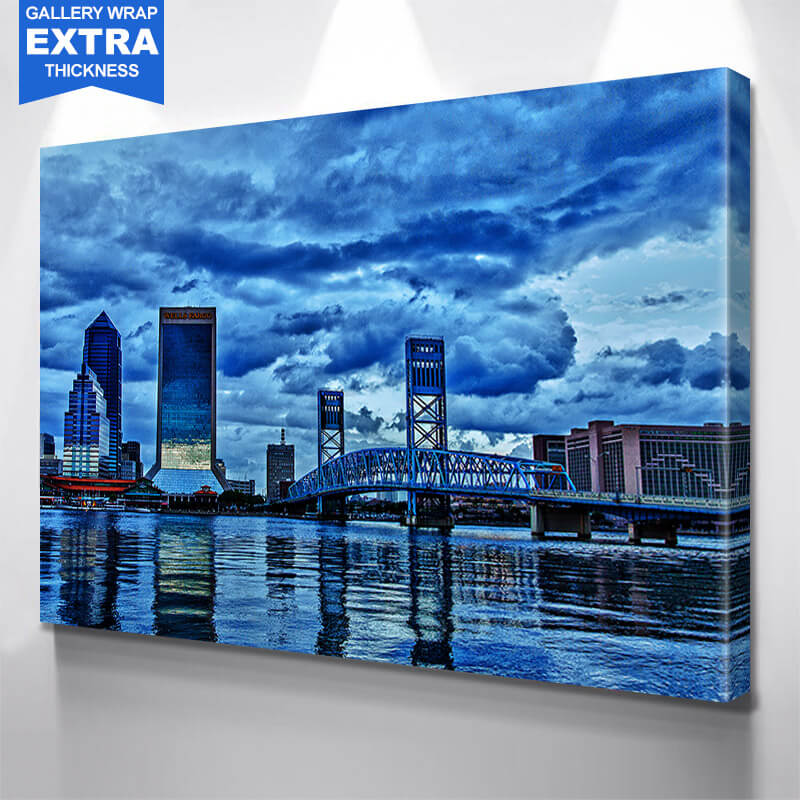 Jacksonville Cloudy Downtown Wall Art Canvas Art