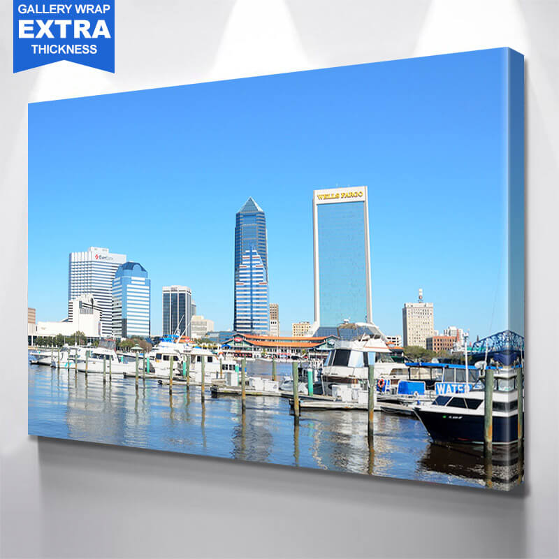 Jacksonville Harbor Skyline Wall Art Canvas Art