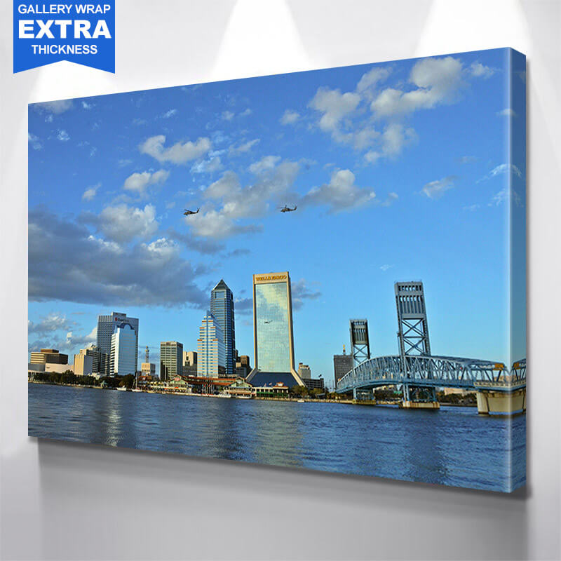Jacksonville St. John River Helicpotor  Wall Art Canvas Art