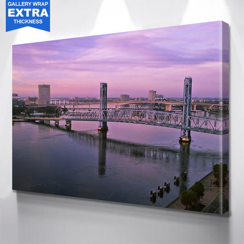 Jacksonville Bridges Pink Dusk Sky Wall Art Canvas Art